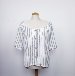 ARDENE   NWT Striped Short Sleeve Button Blouse